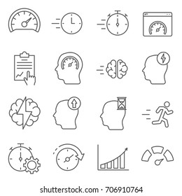 Set of performance Related Vector Line Icons. Contains such Icons as productivity, efficiency, idea, brainstorming, execution, speed, intelligence and more.