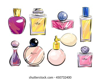 Set of perfume bottles on white background. Different shapes of bottles. Vector illustration.
