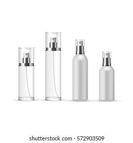 Set of Perfume Spray Bottles in glass and plastic, vector illustration
