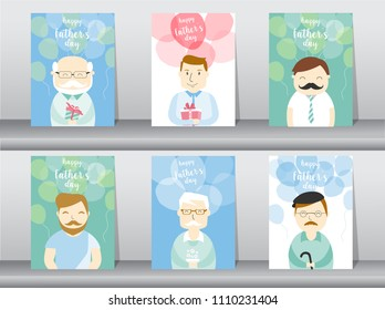 Set of person desing for happy father's day card ,poster,template,greeting cards,people,men,dady,Vector illustrations