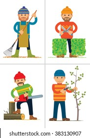 Set of personages working in garden or park. Vector illustration
