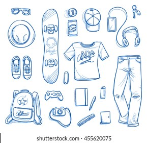 Set of personal belongings, objects of a young girl. Clothing, accessories, toys, stuff. Icons for a young modern hipster lifestyle, hand drawn flat lay vector illustration