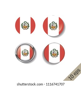 Set of PERU flags round badges. Vector illustration. 10 eps