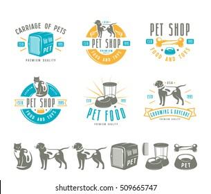 Set of pet care labels, badges and design elements. Color print on white background