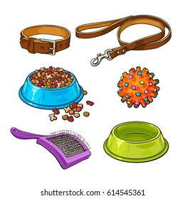 Set of pet, cat, dog accessories full and empty bowl, collar, leash, rubber ball, hairbrush, sketch vector illustration isolated on white background. Hand drawn pet accessories on white background
