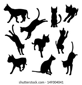 A set of pet cat silhouettes including the cat playing, jumping and walking