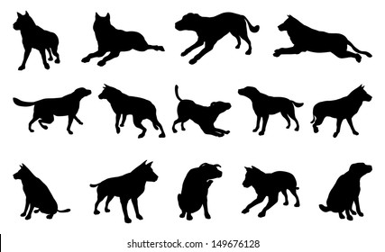 A set of pet dog silhouettes including the dog playing, jumping and walking