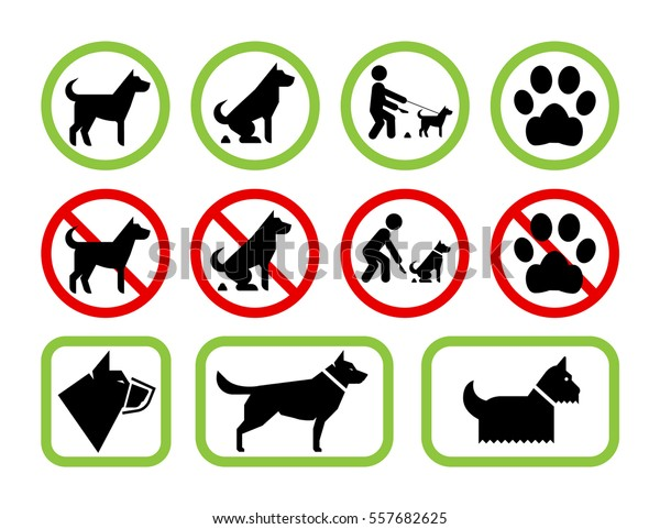 Set Pet Friendly Pet Restriction Signs Stock Vector (Royalty