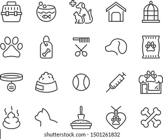 set of pet icons, dog, cat, puppy, animals