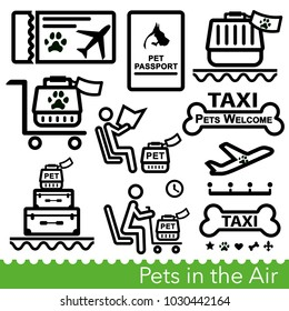 Set of pet transportation icons. Pet friendly travel by air or land, dog and cat documents and travel accessories. Vector Illustration