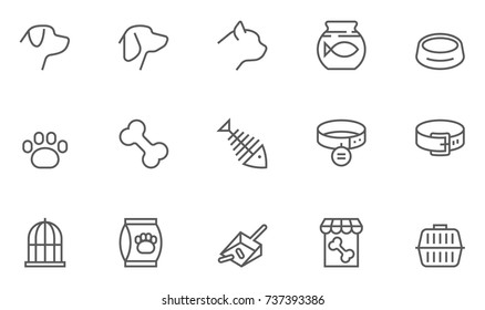 Set of Pet Vector Line Icons. 48x48 Pixel Perfect.
