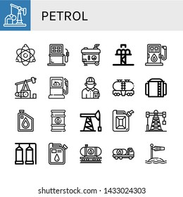 Set of petrol icons such as Oil well, Atomic energy, Fuel, Electric generator, Drop tower, Pumpjack, Fuel station, Gas station attendant, Tank, Storage tank, Oil, Oil barrel , petrol