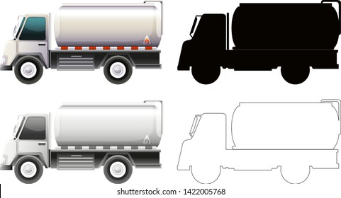 Set of petrol truck illustration