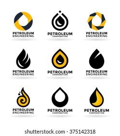 Set of petroleum industry symbols and logo design elements (3)