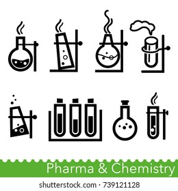 Set of pharma and chemistry icons. Chemical reactions in retorts and test tubes. Vector Illustration