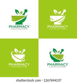 Set of pharmacy logo template