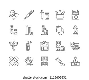 Set of Pharmacy outline icons isolated on white background. Editable Stroke. 64x64 Pixel Perfect.