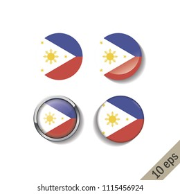 Set of PHILIPINES flags round badges. Vector illustration. 10 eps