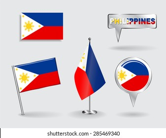 Set of Philippines pin, icon and map pointer flags. Vector illustration.
