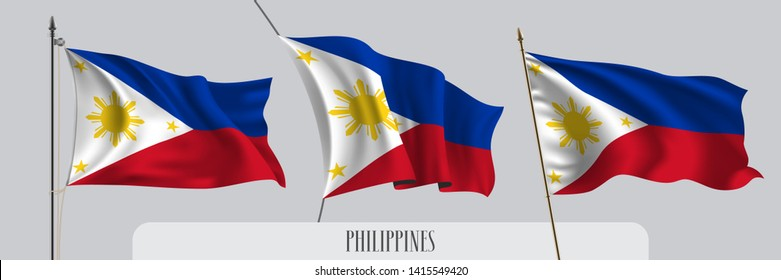 Set of Philippines waving flag on isolated background vector illustration. 3 striped Filipino wavy realistic flag as a patriotic symbol
