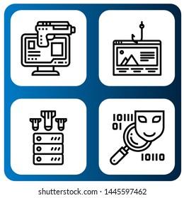 Set of phishing icons such as Online robbery, Phishing, Ddos, Spyware , phishing