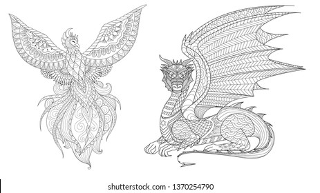 Set of Phoenix and dragon for design element and coloring page for adult.Vector illustration