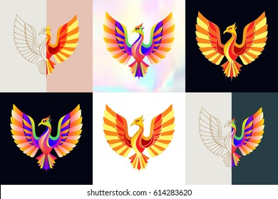 Set of phoenix logos. Abstract design thin line icons, patches, badges, labels and stickers. Vector illustration.