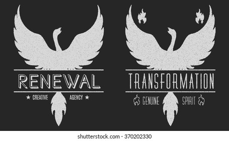 set of phoenix symbol vintage  logos, emblems, silhouettes and design elements. Symbolic and outdoor logos with grunge textures. Retro style, grunge, used optic, old. Vector