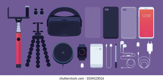 Set of phone accessories: smartphone, power bank, charger, mobile phone lens, flash card, headphones, stylus, 3D reality glasses, selfie stick, tripod, protective film, watch. Vector illustration.