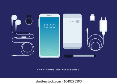 Set of phone accessories: smartphone, power bank, charger, mobile phone lens, flash card, headphones, stylus. Modern mobile technologies. Vector illustration.