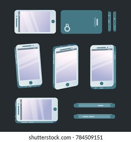 Set of phone at different angles. Smartphone with some view