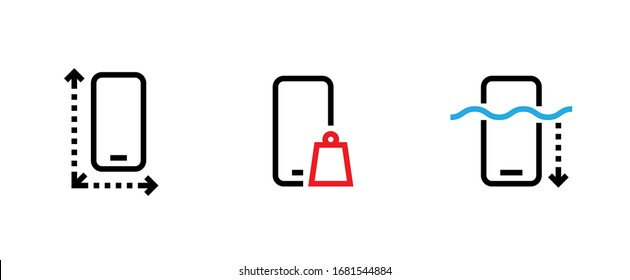 Set of Phone tech specs icons. Editable line vector. Smartphone icon with arrow around perimeter, gadget rectangular shape weight symbol, display with a blue wave depth arrow. Group pictogram.