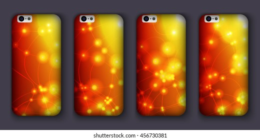 Set of phones covers with abstract bokeh waves. Vector illustration. 10 EPS