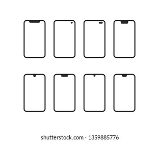 set of phones with different notches. flat linear minimal trendy modern stroke logo graphic art design isolated on white background