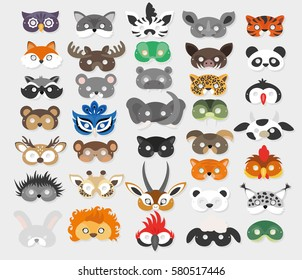Set of photo booth props masks of wild and domestic animals 2