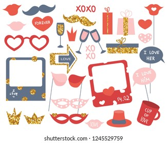 Set of photo booth props for Valentine's Day or other party. Vector hand drawn illustration.