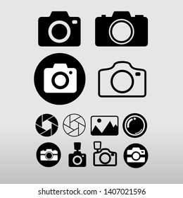 Set of Photo camera. Flat design. Thin line camera sign for design logo, visit card, etc. Vector illustration. Isolated on white background.