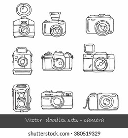 Set of Photo Camera - hand-drawn doodles in vector - vector illustration
