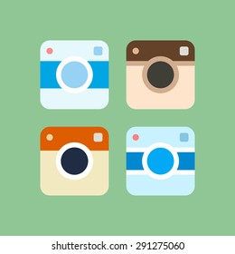 Set of photo camera icons. Vector illustration.
