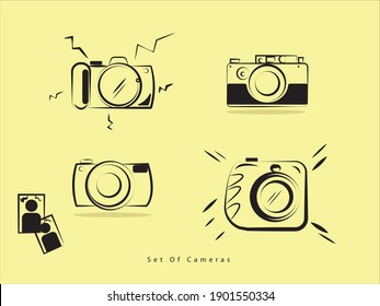 set of Photo cameras doodle icon.  line art in vector with yellow background