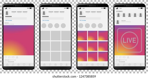 Set of photo community mockup pages on smart phone with with sunset color screen background