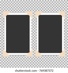 Set of photo frame with angle, corner on grey background. Template, blank for your trendy and stylish photo