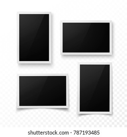 Set of photo frame with shadow. Realistic photo, image or pictere border template. Photography blank. Vector illustration isolated on transparent background