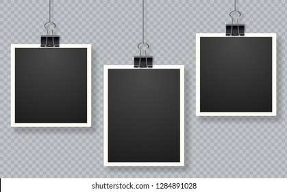 Set of photo frames. Blank photo frame set hanging on a clip. Retro vintage style. Black empty place for your text. Retro realistic vector photo frame placed on transparent background.