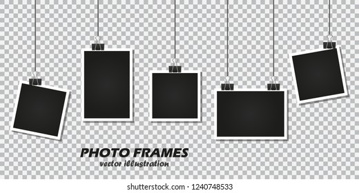 Set of photo frames with stationery clip on a transparent background.