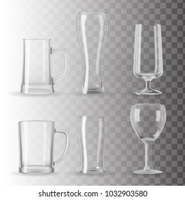 Set of photo realistic beer, juice and water glasses, mugs and a goblet. Transparent vector illustration