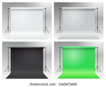 Set of photo studio chroma key. Modern equipment photo studio. White, gray, black, green backdrop stand tripods. Realistic 3D template mock up. Vector illustration. Isolated on white background.