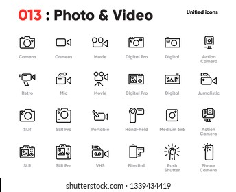 Set of Photo and Video Line Unified Icons. Includes Camera, Movie, Action, Digital and other. Pixel Perfect. Editable Stroke.