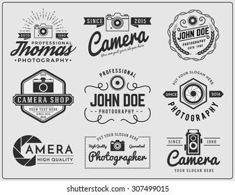 Set of photography and camera service logo insignia design vector illustration