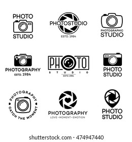 Set of photography logo and photo studio label black color. Vector design elements, business signs, logos, identity, labels, badges and other branding objects for your business. Vector illustration